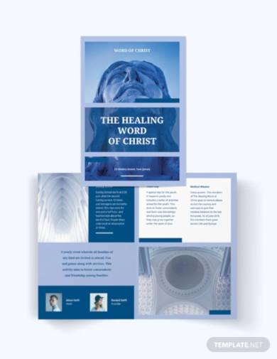 modern church bi fold brochure template