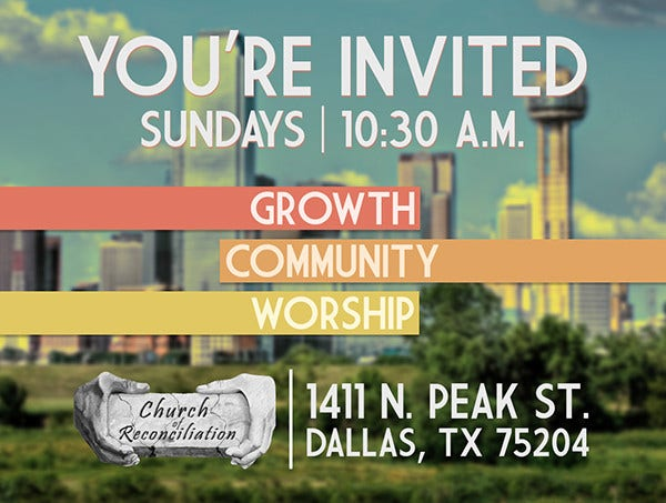 modern church invitation example