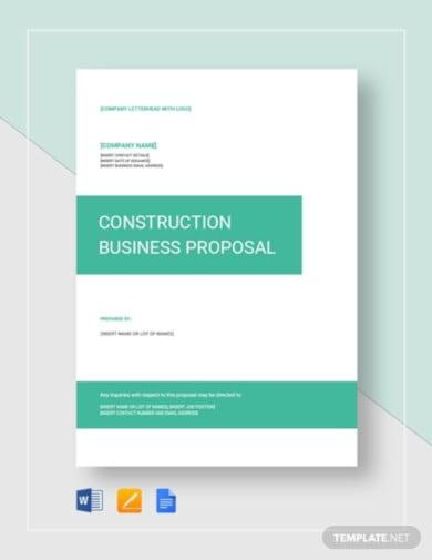 modern construction business proposal template