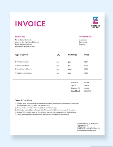 modern event planner invoice template