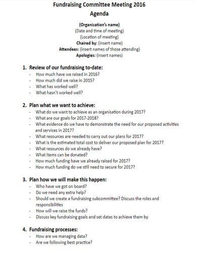 modern fundraising committee agenda
