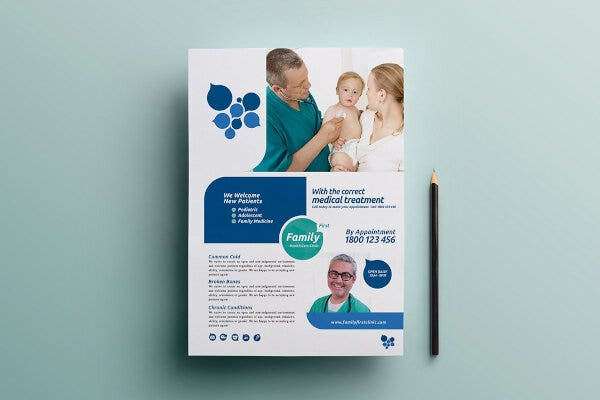 modern healthcare clinic poster template