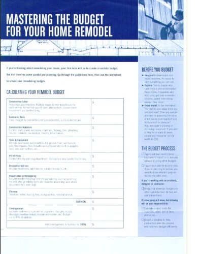 modern home remodel budget template