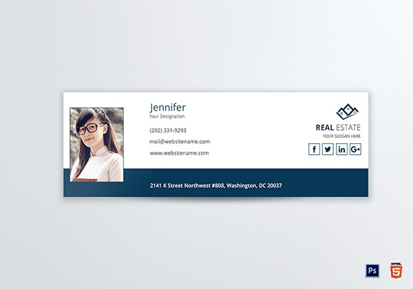modern real estate email signature template