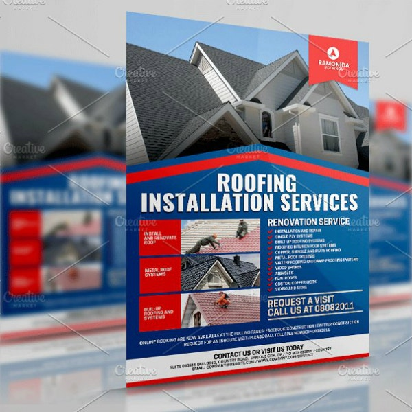 modern roofing services flyer design