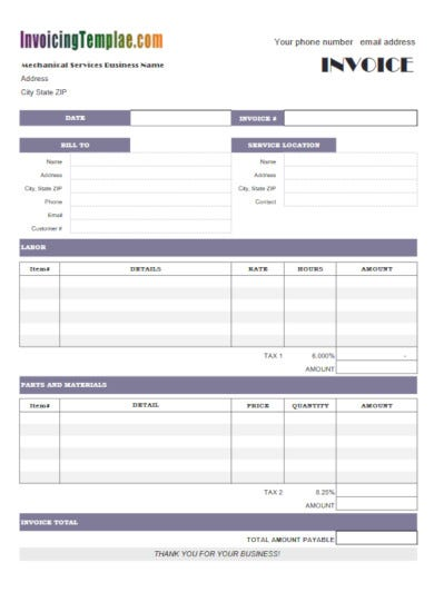modern servicing invoice template