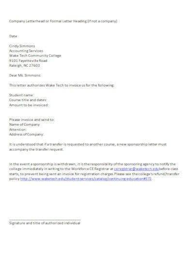 modern sponsorship invoice letter