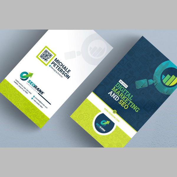 modern vertical marketing business card