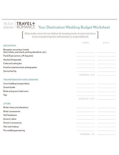 modern wedding budget template