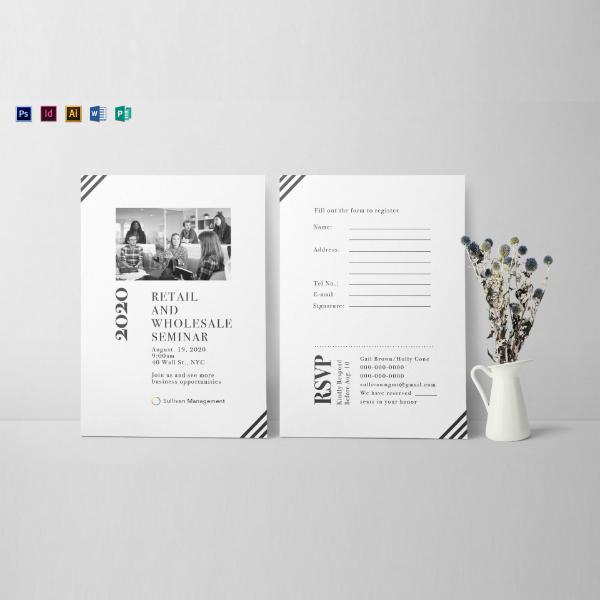 monochrome seminar invitation card template