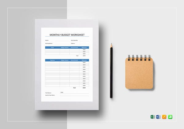 monthly business budget worksheet template