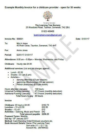 monthly childcare invoice template1