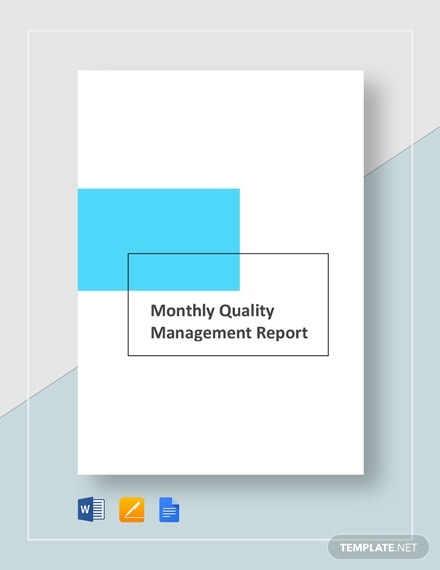 monthly quality management report 14