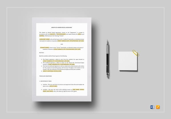 monthly rental lease agreement template