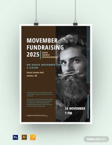 movember fundraising poster template