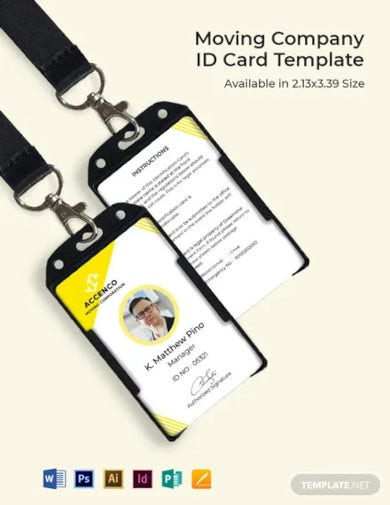 moving company id card template1