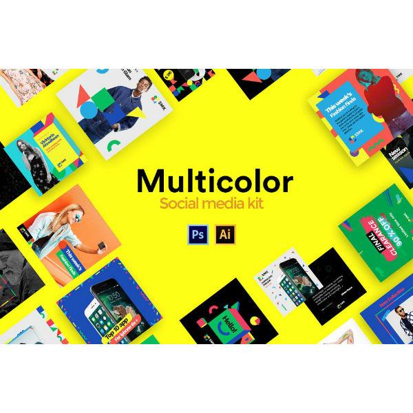 multi color social media kit sample