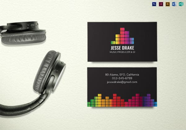 music producer and dj business card mock up