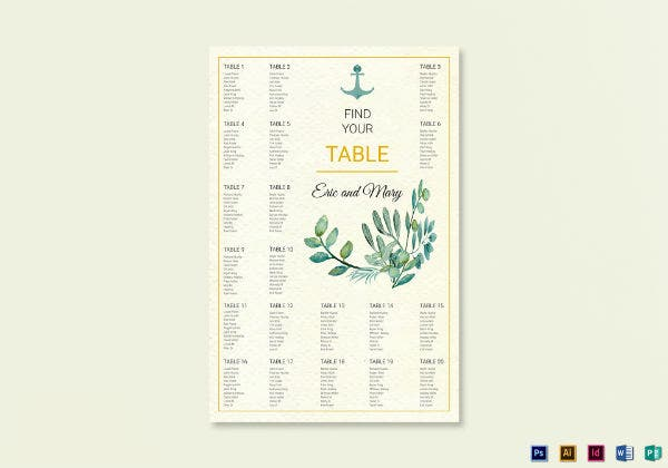 nautical wedding seat plan template