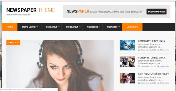 newspaper html5 and css3 wordpress theme