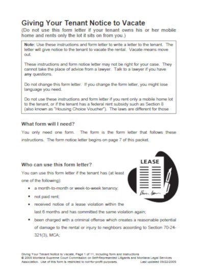 notice letter to tenant template