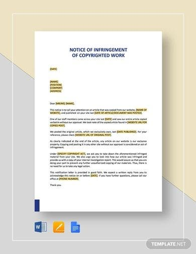 notice of infringement of copyrighted work template