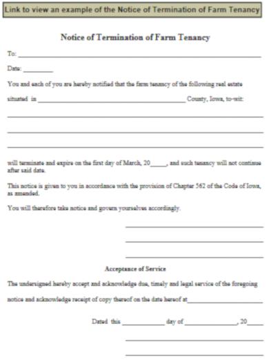 notice of termination of farm tenancy
