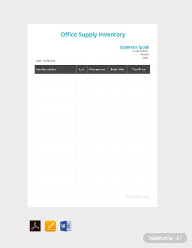 office supply inventory template