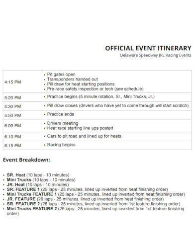 official event itinerary template