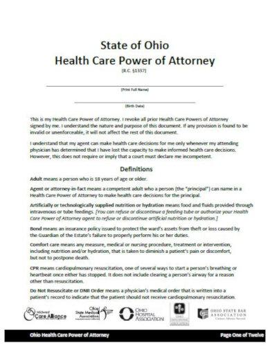 ohio healthcare powers of attorney