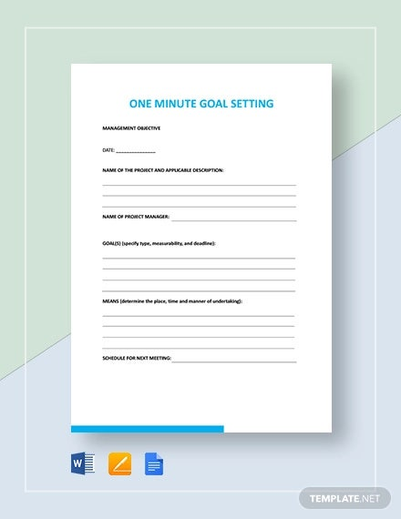 one minute goal setting template