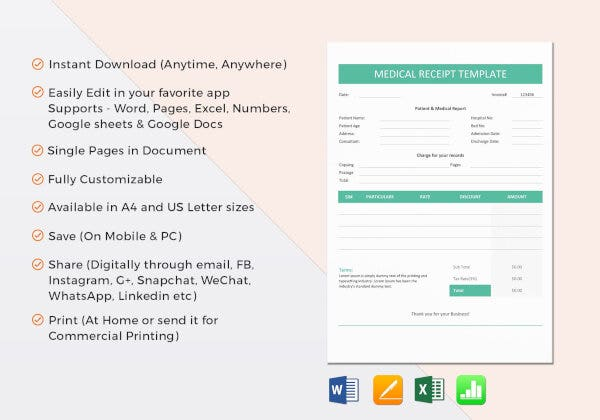 one page medical invoice template