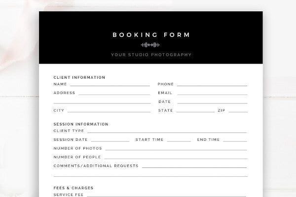 one page photography order booking form