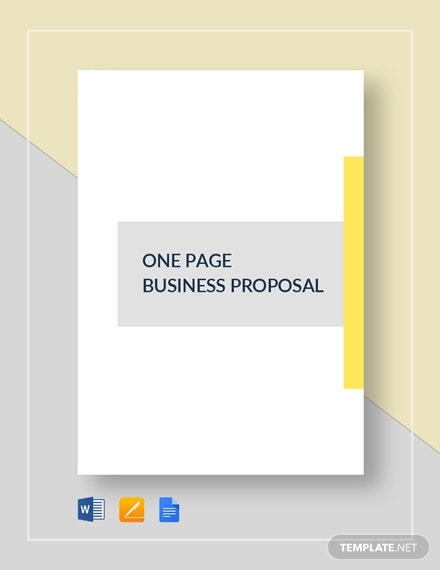 one page small business proposal template