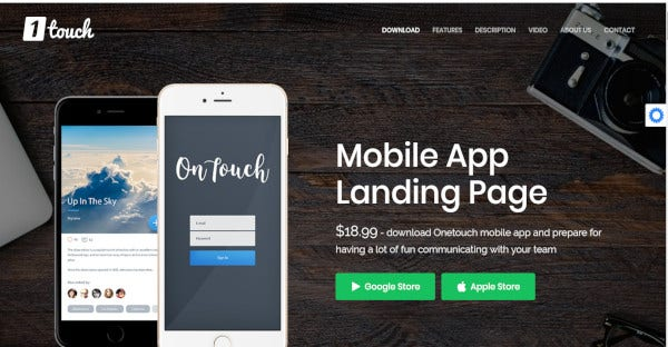 One touch mobile app - multiple layouts WordPress Theme