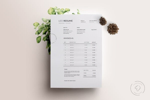 onepage business invoice template