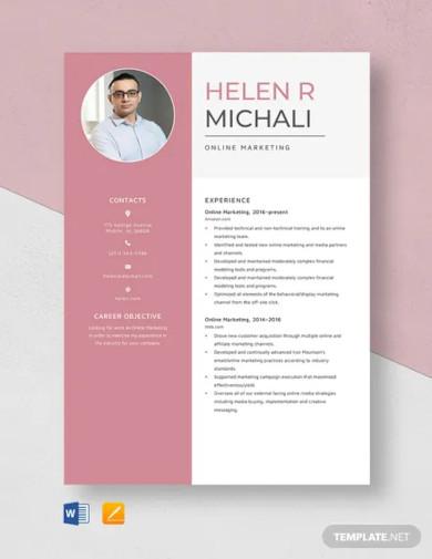 online marketing resume template