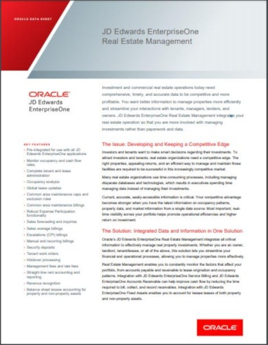 oracle real estate datasheet
