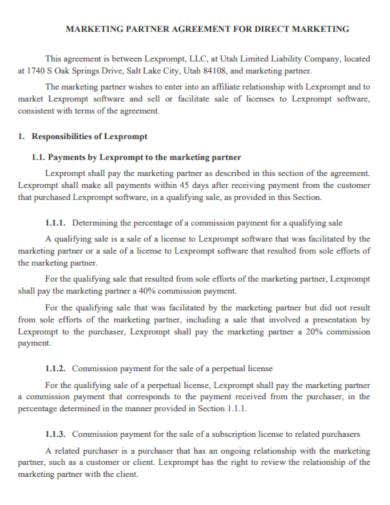 partnership agreement for direct marketing