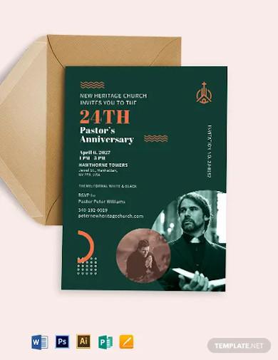 pastors anniversary church program invitation template