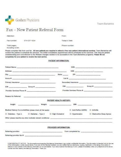 patient referral fax cover sheet