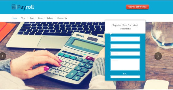 payroll lead capture form wordpress theme