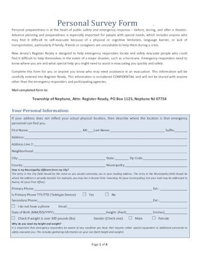 personal survey form in pdf