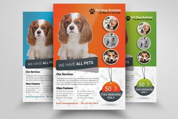 pet shop small business flyer template