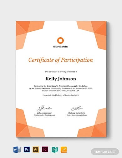 photography participation certificate template1