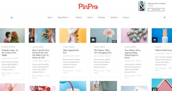 pinpro live customizer wordpress theme