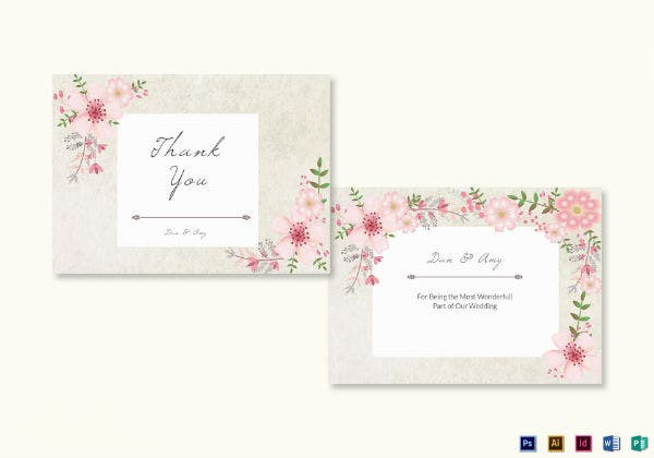 pink floral thank you note card template