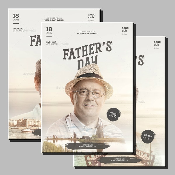 portrait fathers day flyer template
