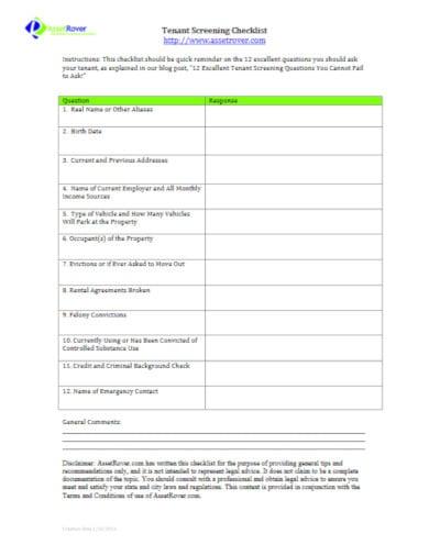 potential tenant screening checklist template 1