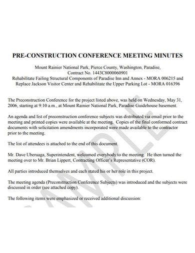 pre construction conference meeting minutes example